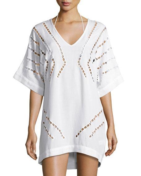 Vix Luma Embroidered Caftan Coverup, Off White
