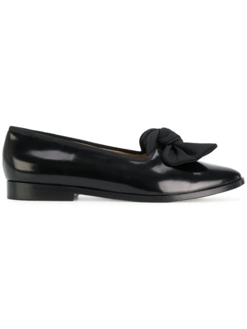 Mansur Gavriel Embellished Glossed-leather Loafers In Black