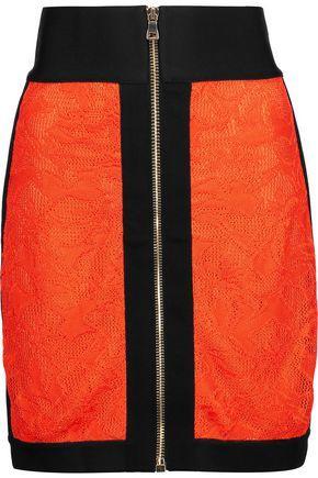 Balmain Woman Lace And Jersey Mini Skirt Bright Orange