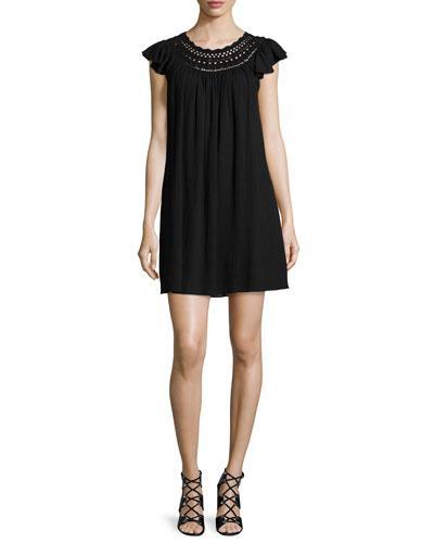 Rebecca Taylor Ruffle-sleeve Crochet-inset Shift Dress, Black