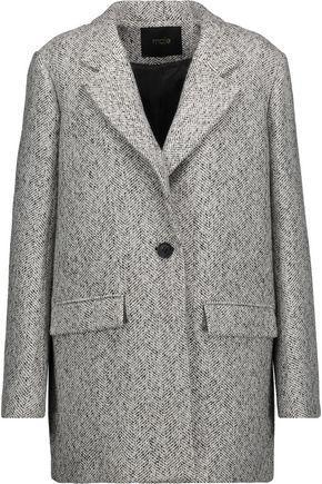Maje Woman Herringbone Woven Jacket Light Gray