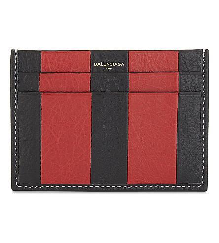 Balenciaga Bazar Striped Textured-leather Cardholder In Red Black