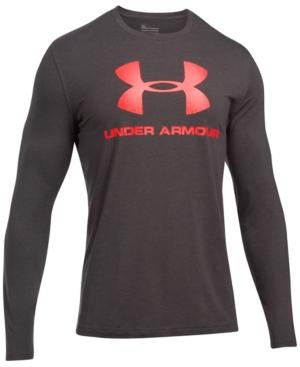 Under Armour Men's Long-sleeve Logo T-shirt In Grey/red