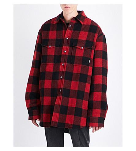 Vetements Oversized Checked Wool-blend Shirt In Red