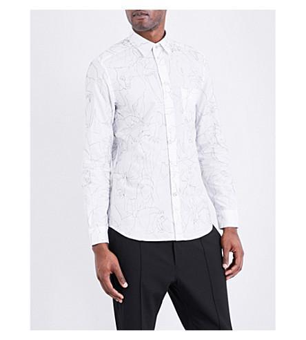 Diesel S-guru Stitched Cotton Shirt In Bright White