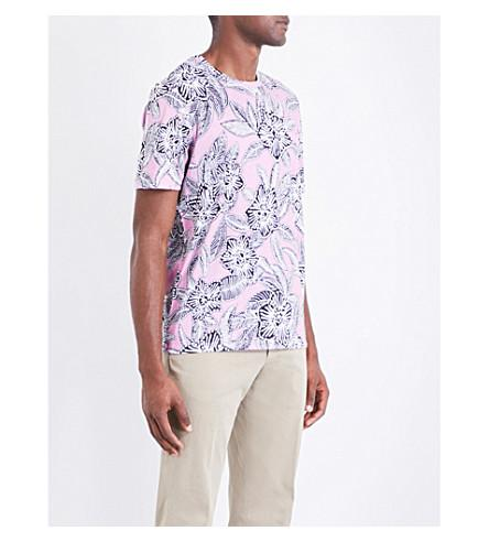 Ted Baker Floral-print Cotton-jersey T-shirt In Pink