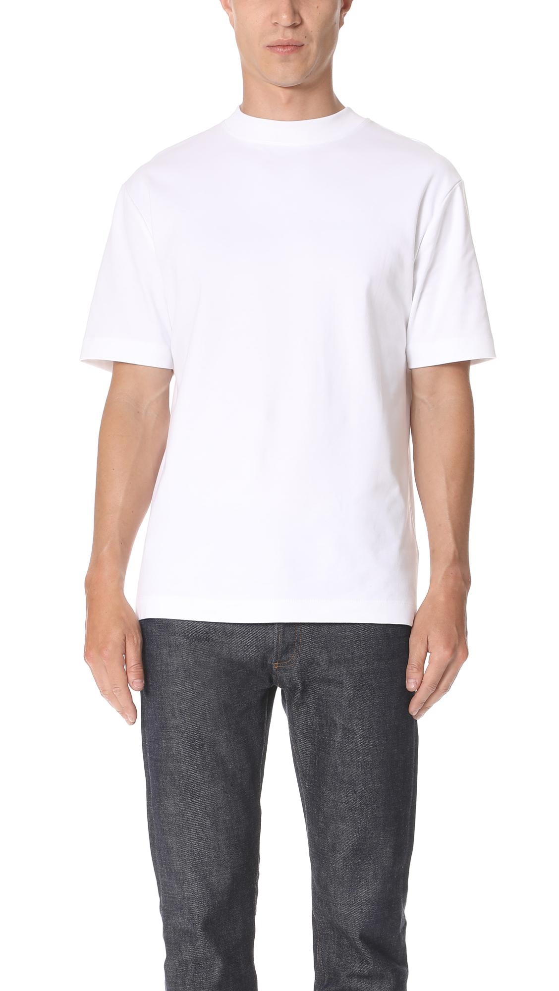 Sunspel Short Sleeve Mock Neck Tee In White