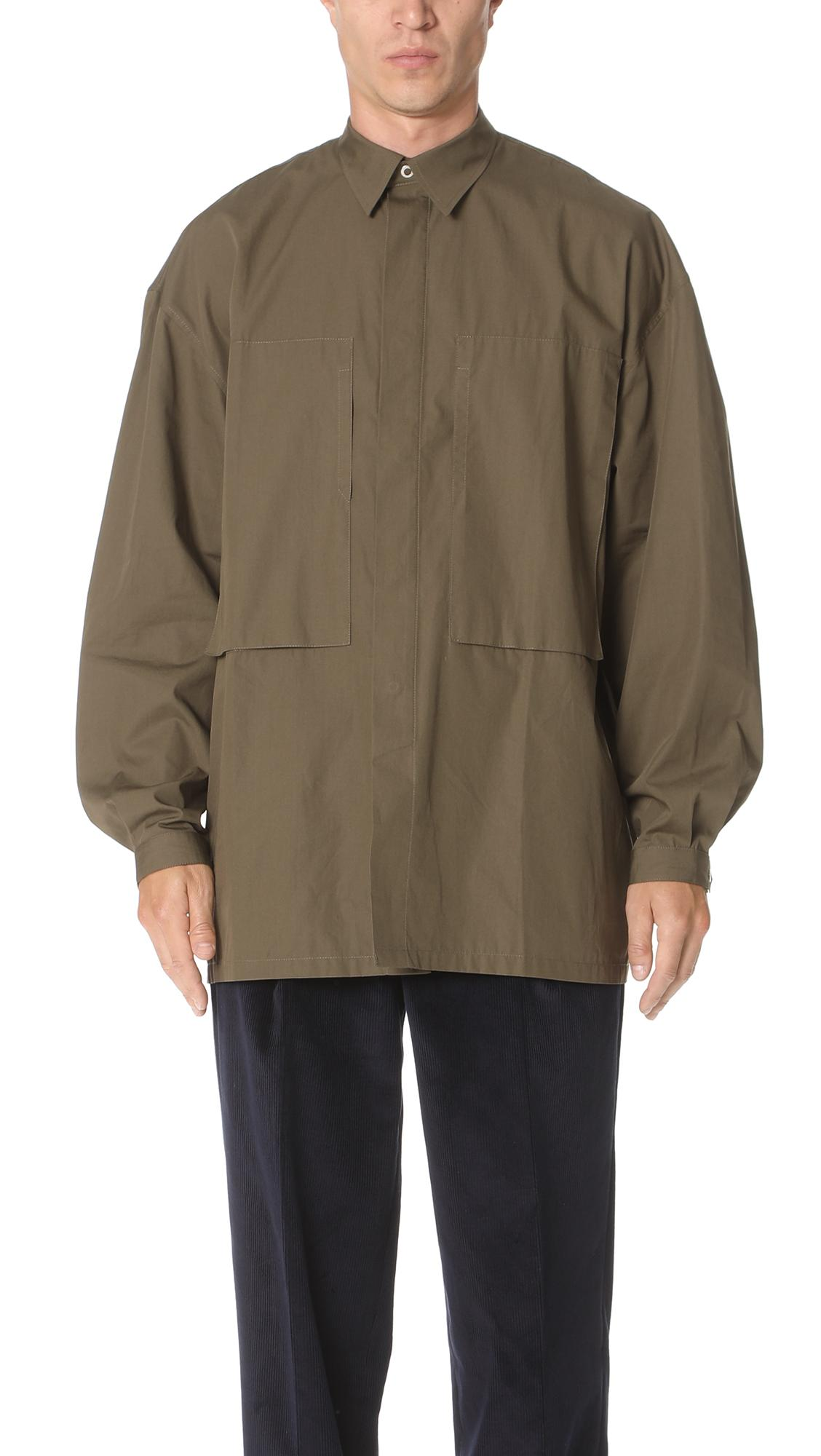 E. Tautz Deep Pocket Long Sleeve Shirt In Army