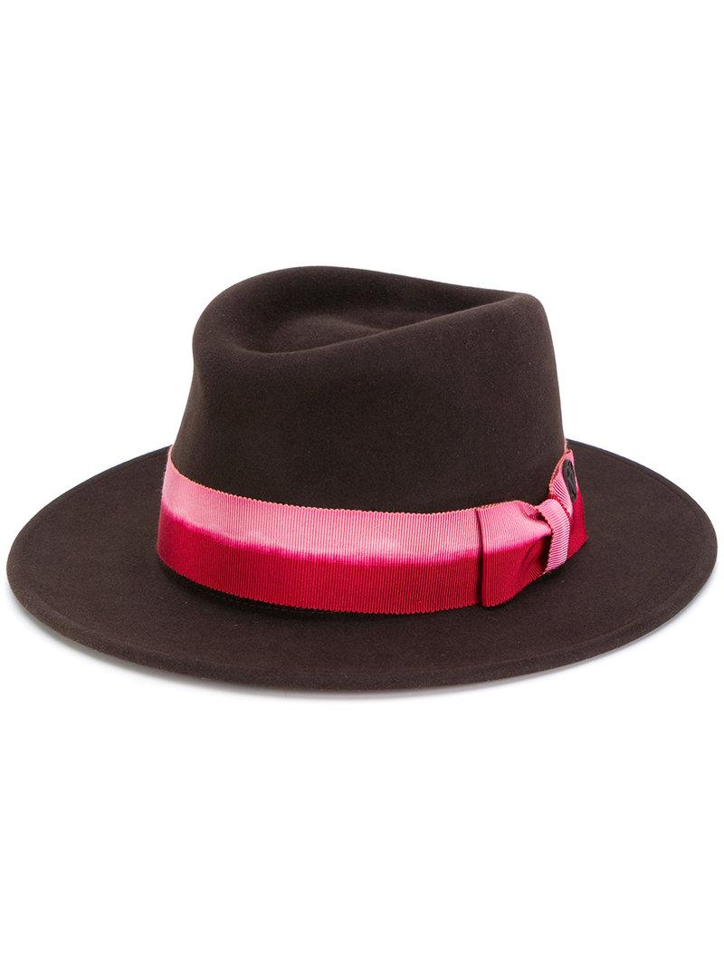 Maison Michel Trilby Hat In Brown