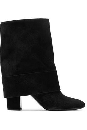Casadei Woman Fold-over Suede Boots Black