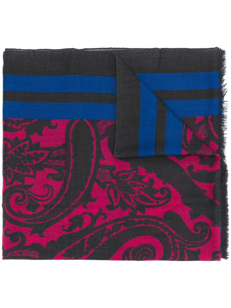 Etro Paisley Stripe Print Scarf - Purple