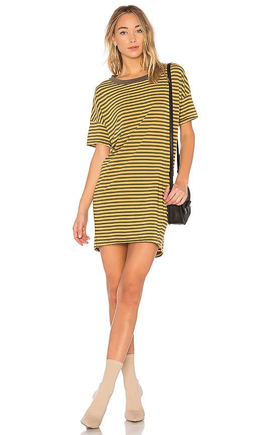Stateside Mustard Stripe Dress In Fern