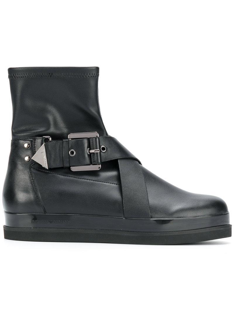 Emporio Armani Buckled Boots - Brown