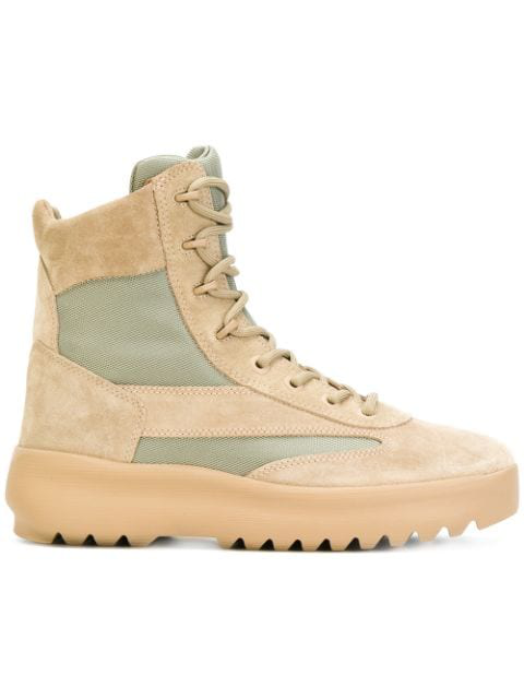 Yeezy Boots With Suede And Mesh In Neutrals
