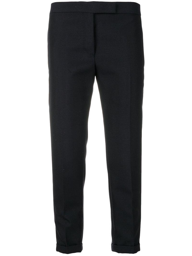 Thom Browne Low Rise Skinny Trousers In Blue