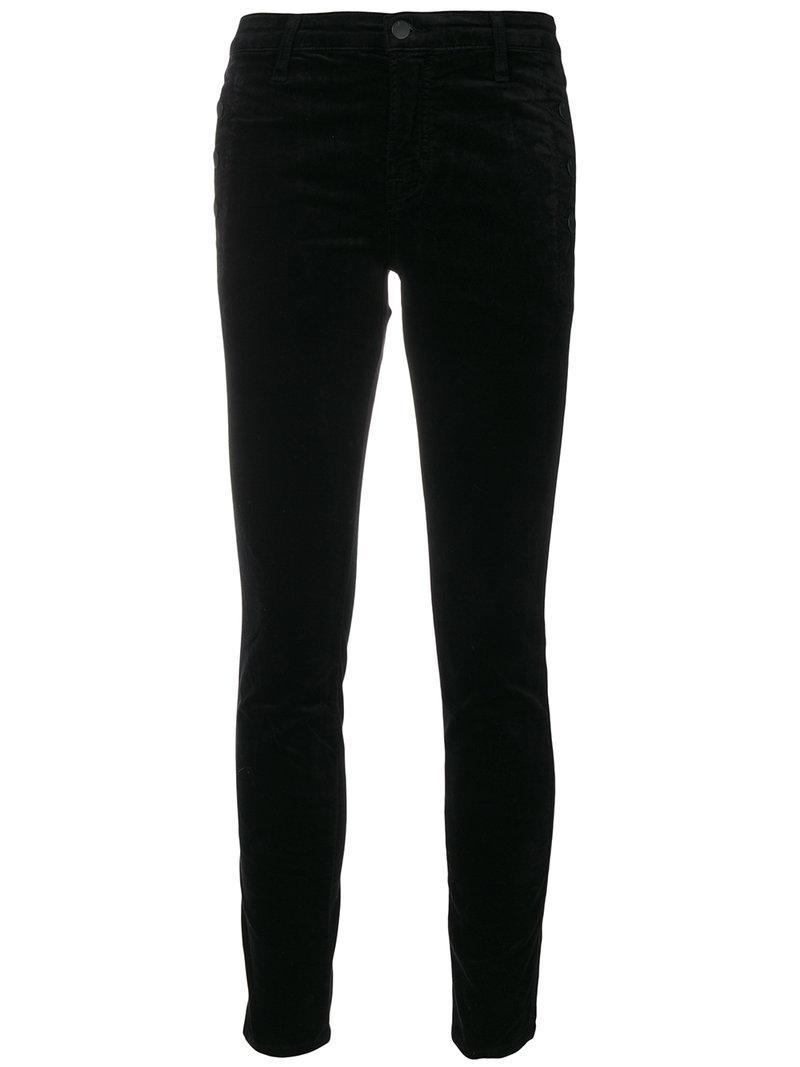 J Brand Zion Skinny Velvet Pants In J3 Black
