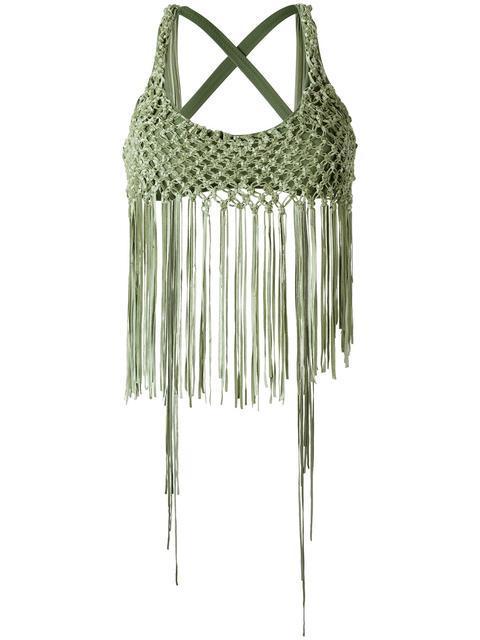 Amir Slama Fringed Bikini Top - Green