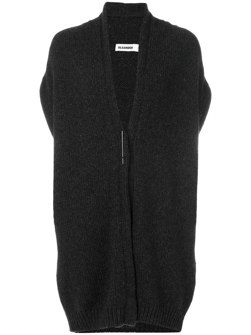 Jil Sander Knit Oversized Sleeveless Cardi Coat In Grey
