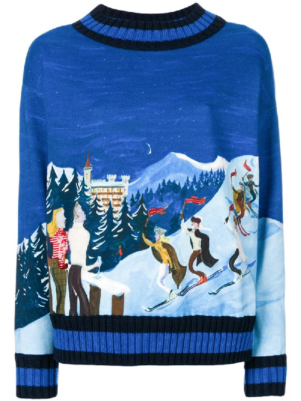 Moncler Embroidered Ski Sweater In Blue