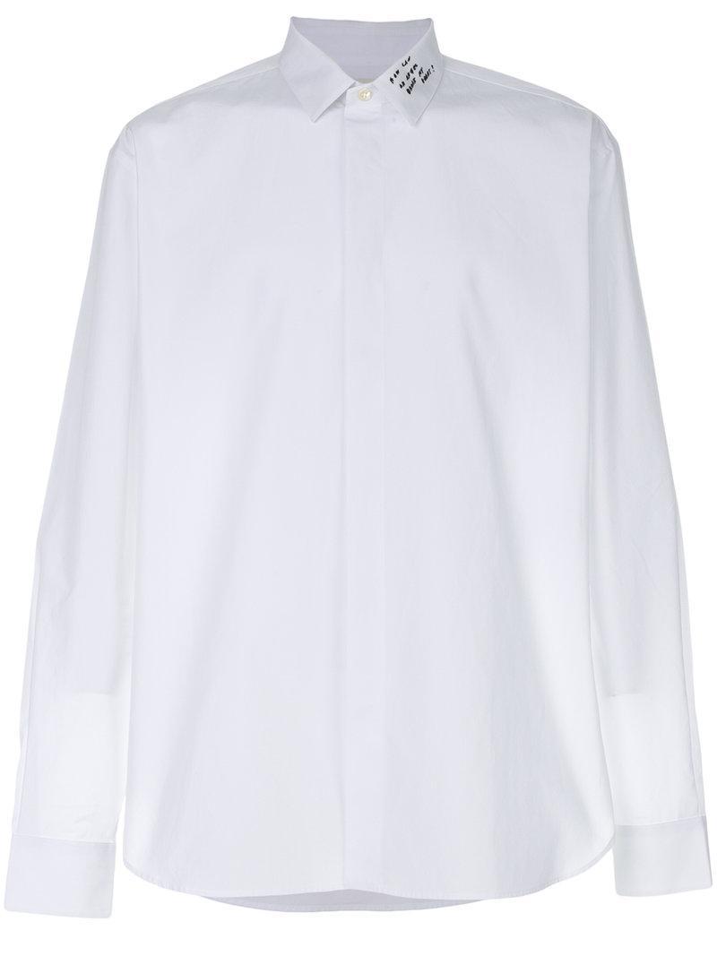 Saint Laurent Embroidered Yves Collar Shirt