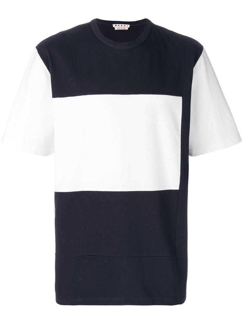Marni Color Blocked S/s T-shirt In Blue Navy