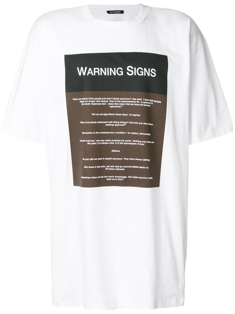 Raf Simons Warning Signs White Cotton T-shirt