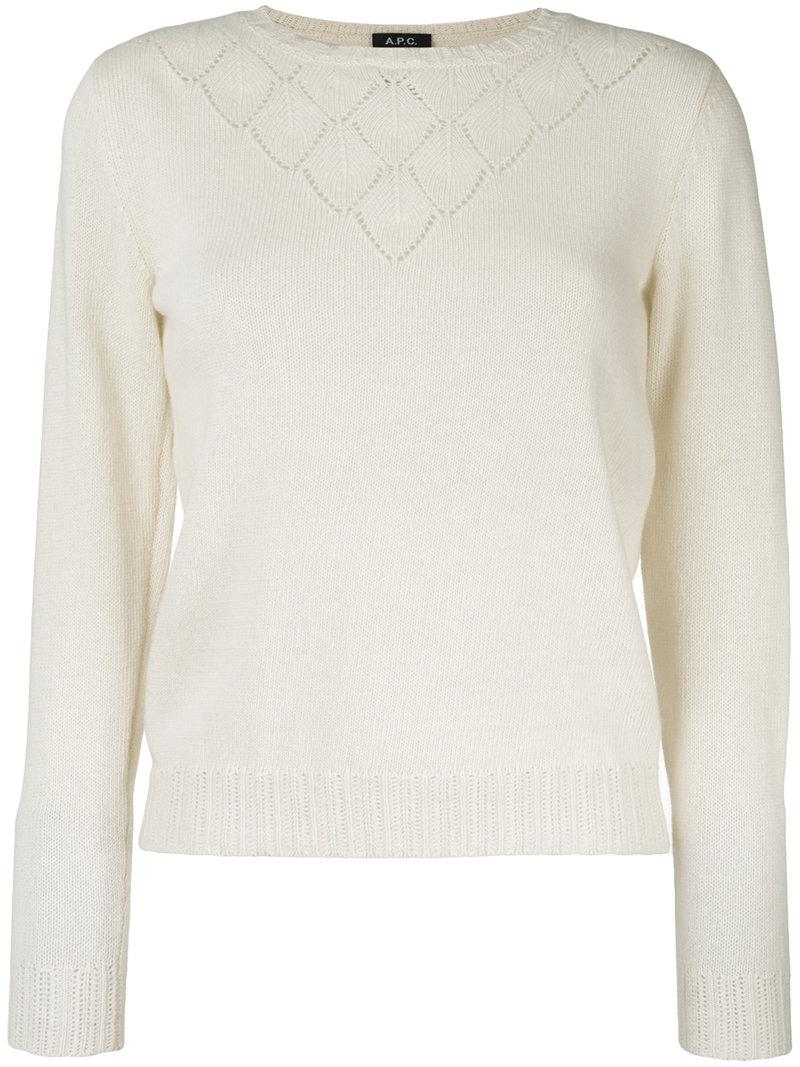 A.p.c. Long Sleeved Perforated Top In Neutrals