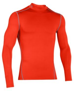Under Armour Men's Coldgear Mock Neck Long-sleeve T-shirt In Dark Orange