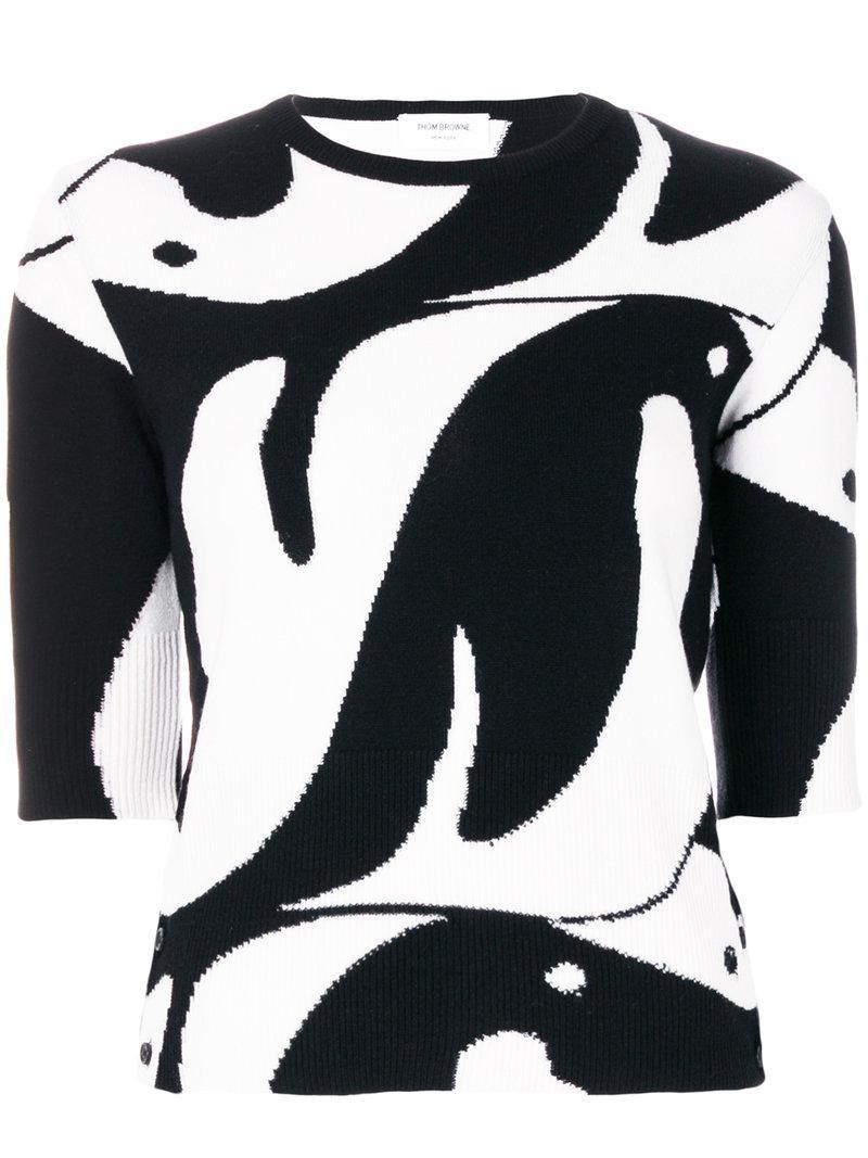 Thom Browne Penguin Intarsia Cashmere Sweater In Black & White