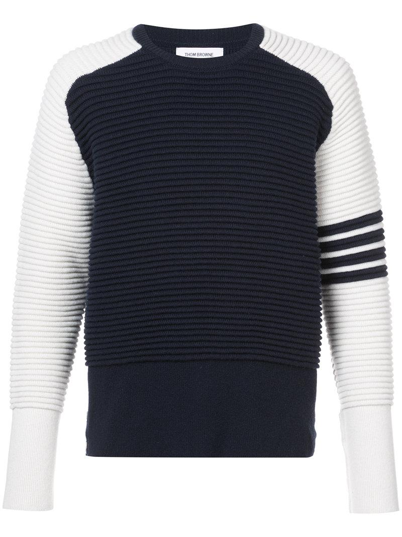 Thom Browne Raglan Crewneck Pullover With Ottoman Stitch & 4-bar Stripe In Navy Cashmere