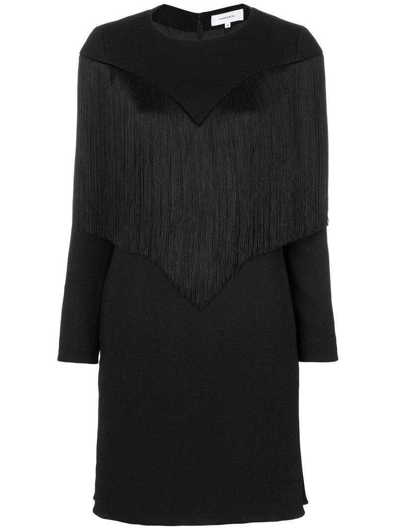 Carven Fringed Dress - Black
