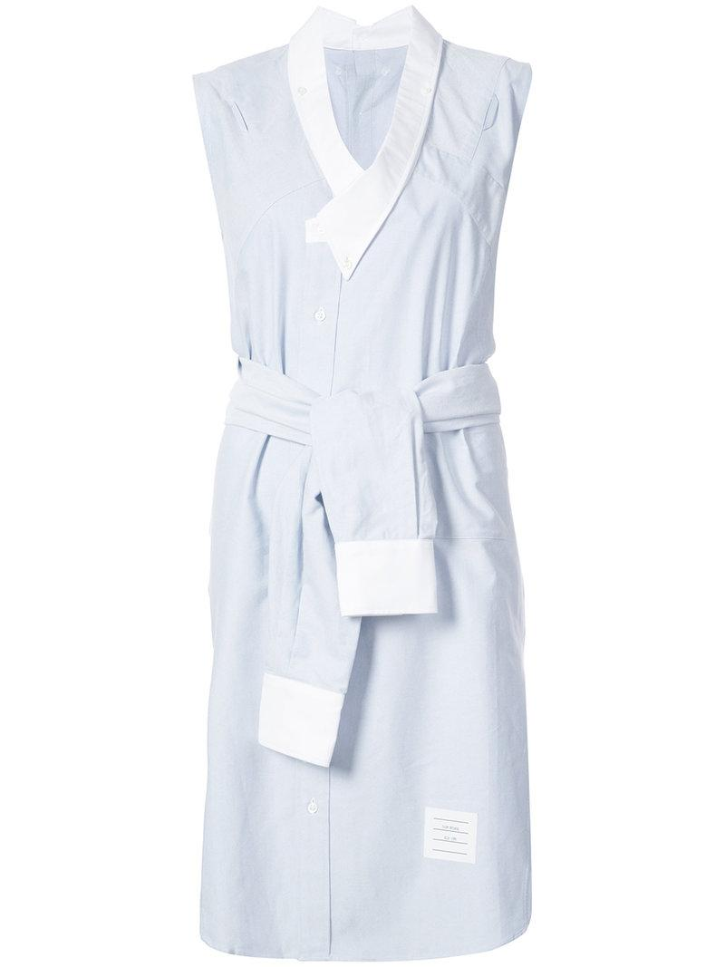 Thom Browne Reconstructed Sleeveless Wrap Shirtdress In Light Blue Oxford