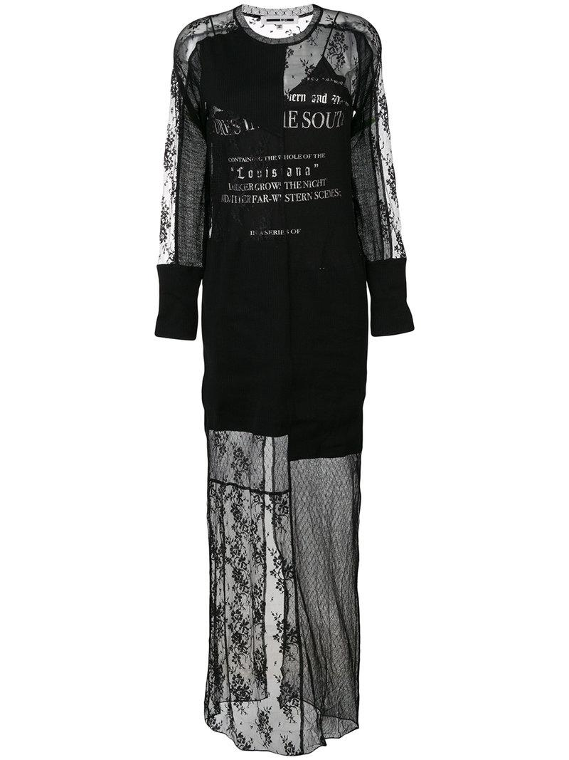 Mcq By Alexander Mcqueen Graphic Print Long Lace Dress
