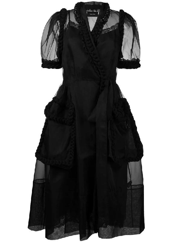 Simone Rocha Braided Wrap Tulle Dress In Black