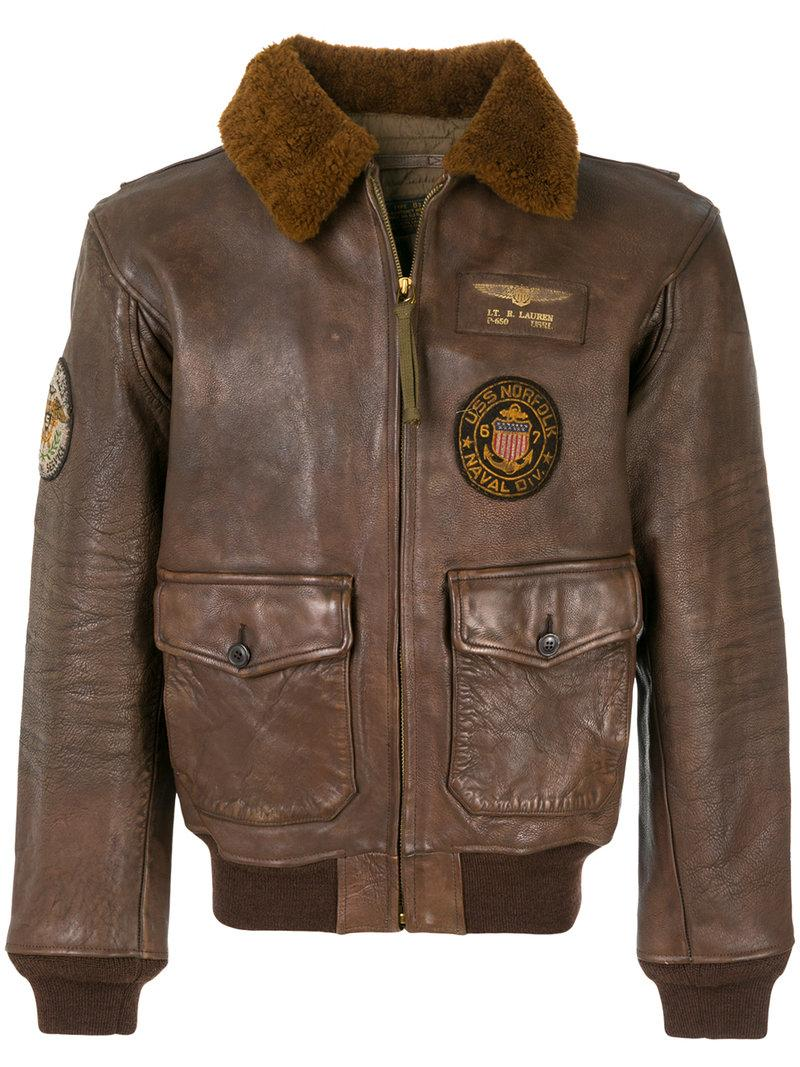 fd90041fa9d Polo Ralph Lauren G1 Leather Bomber Jacket In Bison Brown