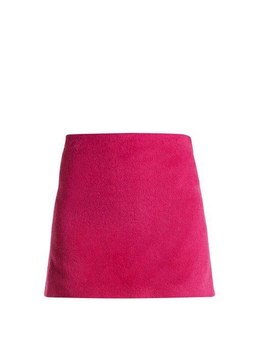 f66f32eaa28f Helmut Lang Re-Edition Brushed Alpaca-Wool A-Line Mini Skirt In Fuchsia