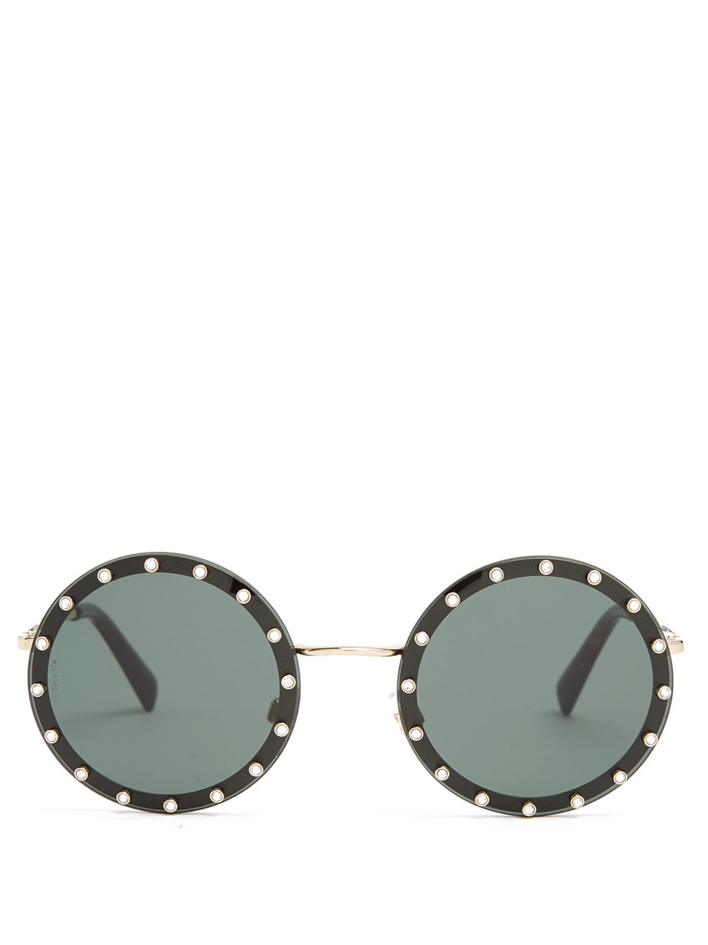 fa6cf46985 Valentino Crystal-Embellished Round-Frame Metal Sunglasses In Black ...