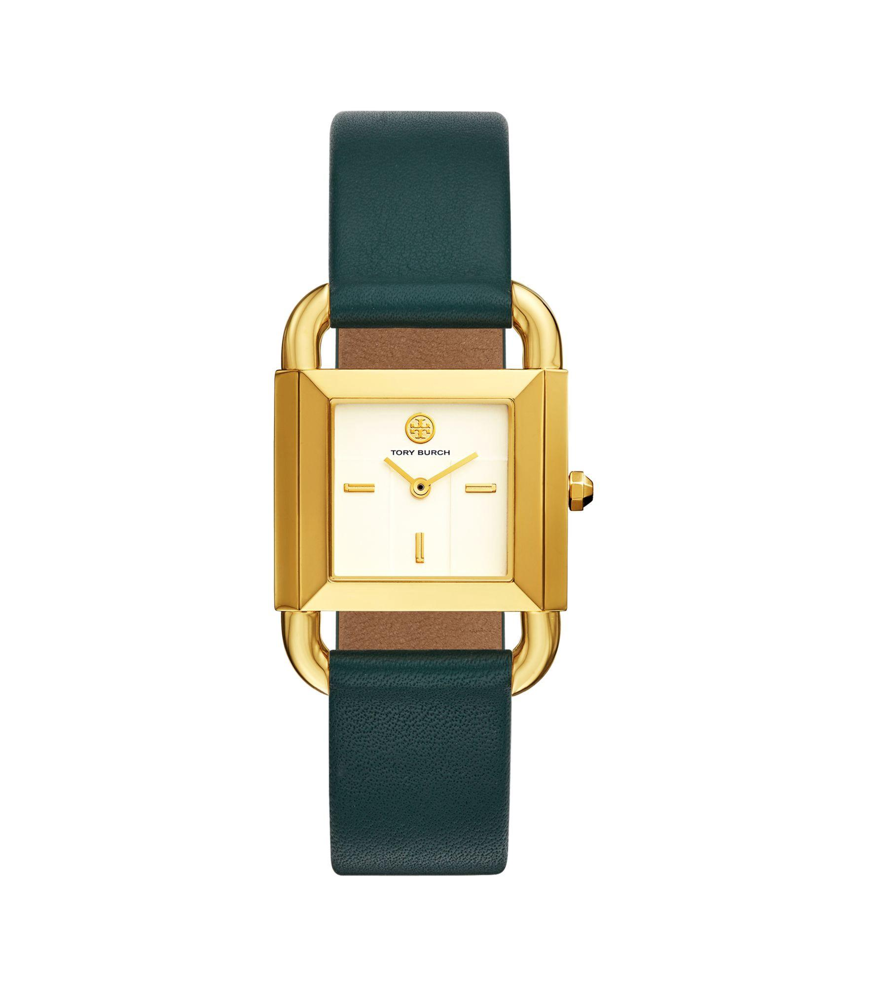 Tory Burch Phipps Watch, Green Leather/gold-tone, 29 X 41 Mm In Valley Forge Green/gold/ivory