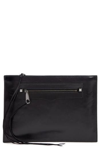 Rebecca Minkoff Regan Leather Clutch - Black In Black/ Gunmetal/ Hrdwr
