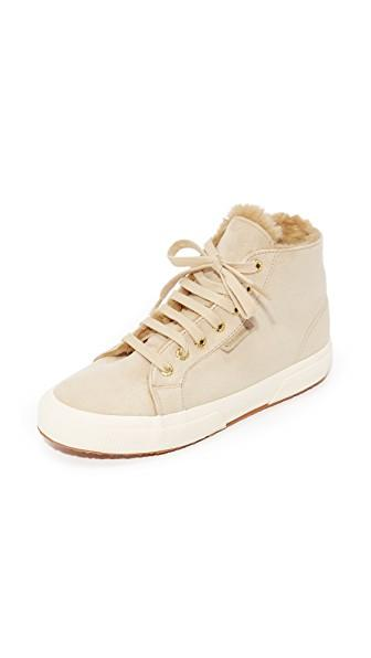 Superga Womens Classic Suede High Top Sneakers In Natural  Modesens-4837