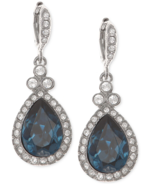 Givenchy Silver-tone Dark Blue Crystal And Pave Teardrop Drop Earrings