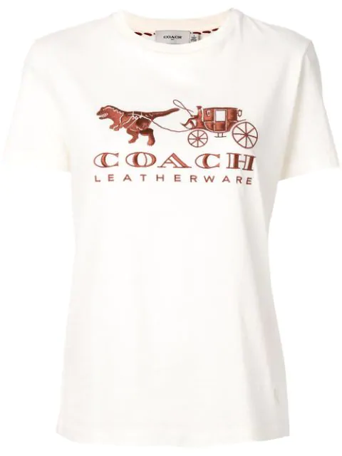 Coach Rexy Carriage Cotton T-Shirt In Neutrals
