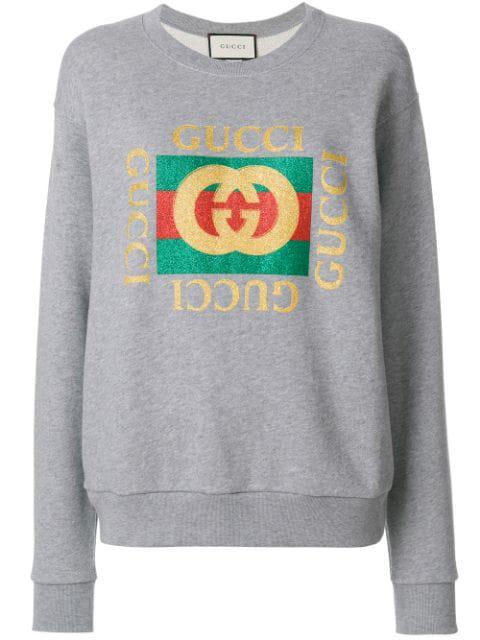 Gucci Oversized AppliquÉd Printed Cotton-terry Sweatshirt In Gray