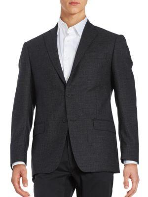 Michael Kors Textured Two-Button Wool-Blend Jacket In Black Grey