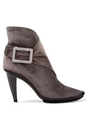 Roger Vivier Woman Buckled Suede Ankle Boots Mushroom