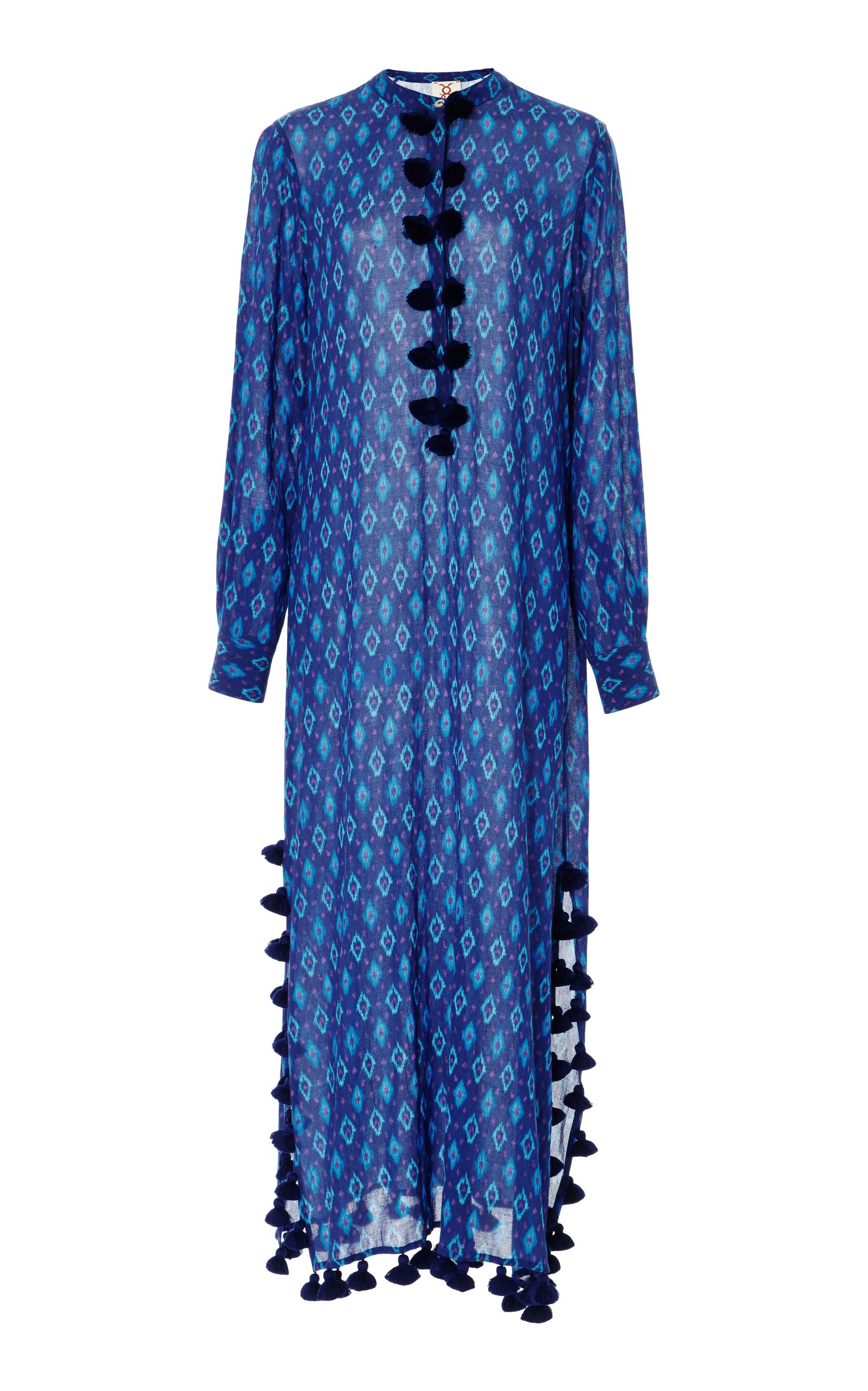 Figue Paolina Tasseled Printed Cotton-blend Gauze Kaftan In Blue