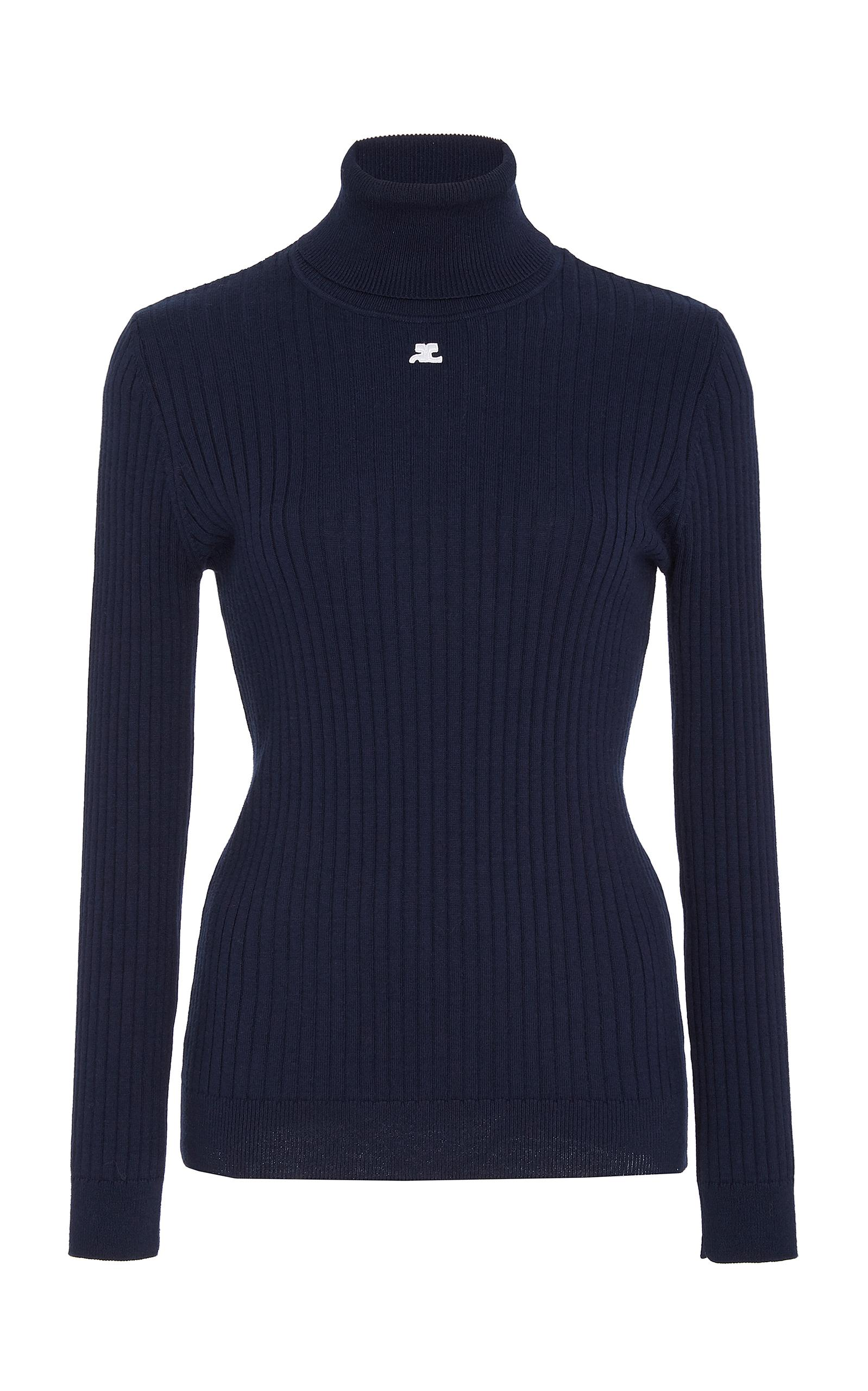 CourrÈGes Cotton And Cashmere-Blend Sweater In Blue