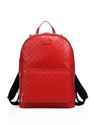 5bddd688d94f Gucci Signature Embossed Leather Backpack In Red   ModeSens