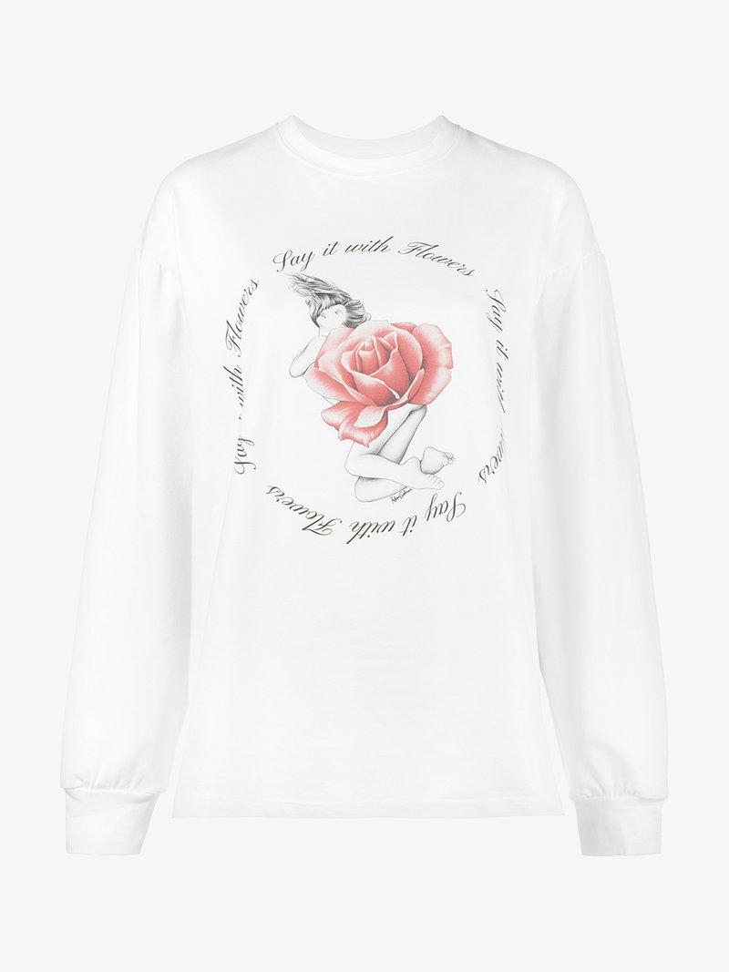 531db90e4d Adam Selman Opening Ceremony Say It With Flowers Long-Sleeve T-Shirt In  White