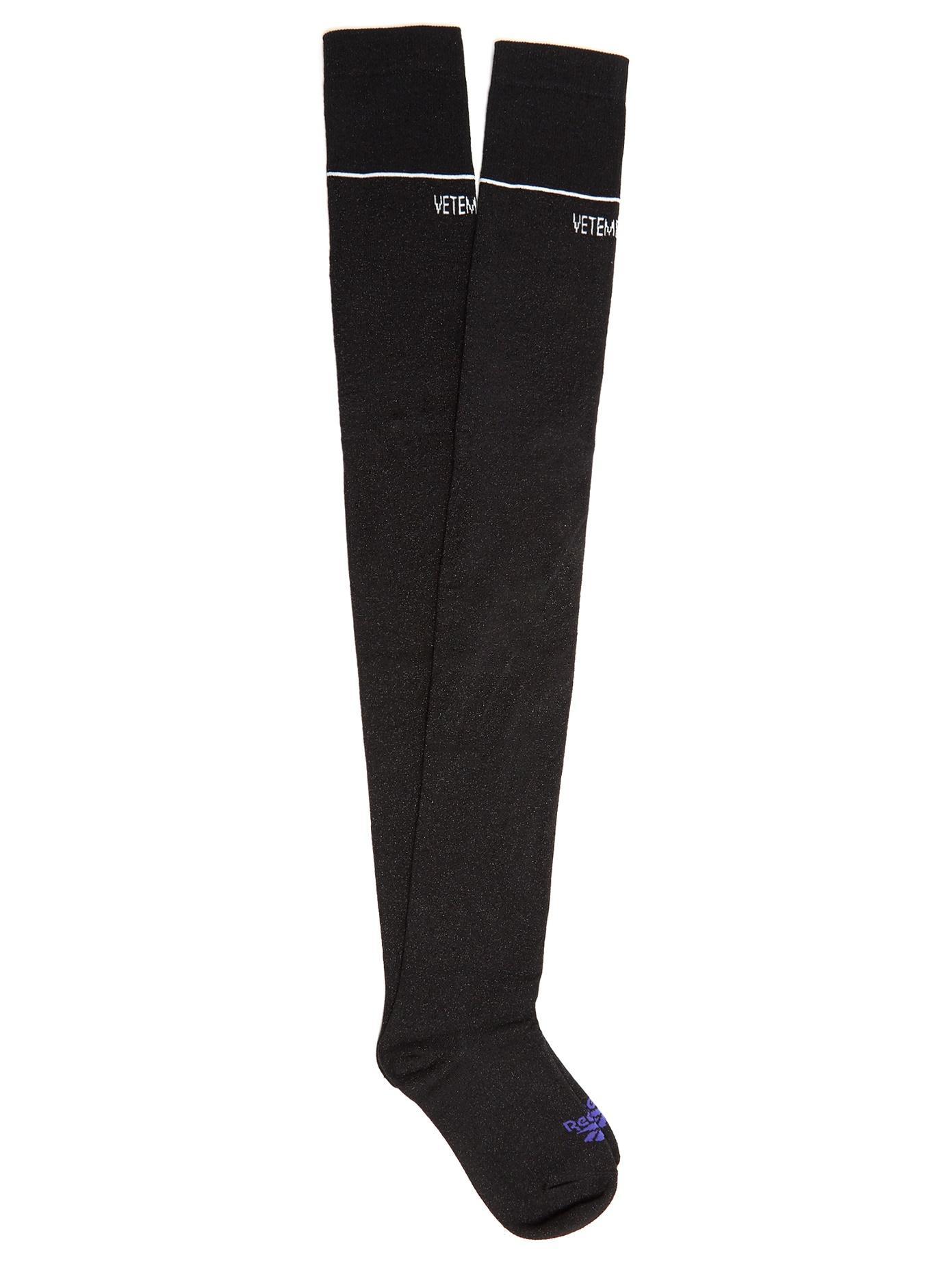 00e4c1de9b1 Vetements Intarsia-Knit Knee-High Socks In Black